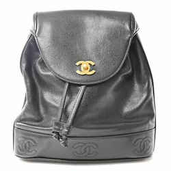 Auth Chanel Chanel Caviar Skin Triple Coco Mark Backpack Black