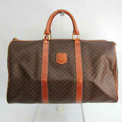 Celine Macadam Women's PVC,Leather Boston Bag Brown,Dark Brown BF533194