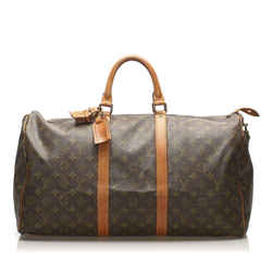 Vintage Authentic Louis Vuitton Brown Monogram Keepall 50 France