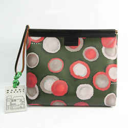 Marni Women's Leather,PVC Clutch Bag Black,Dark Green,Multi-color BF524133