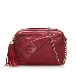 Vintage Authentic Chanel Red Lambskin Leather Leather CC Crossbody Bag France