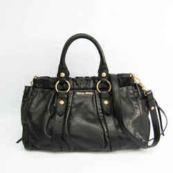 Miu Miu VITELLO LUX RT0383 Women's Leather Handbag,Shoulder Bag Black BF528025