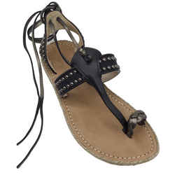 Christian Louboutin Black and Bronze Leather Studded Thong Sandals