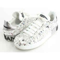 Dolce&Gabbana Calfskin Nappa Portofino Sneakers with Rhinestones