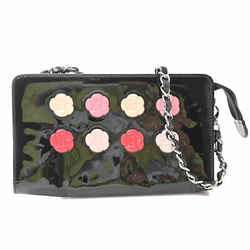 Auth Chanel Chanel Patent Coco Mark Camellia Makeup Palette Chain Semi-shoulder