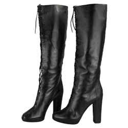 Christian Dior Pushkin Lace Up High Boots Black Size 9 Authenticity Guaranteed