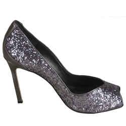 Manolo Blahnik Glitter Fatducabo Open Toe Heels Pumps Size 37.5 $745 New Sz