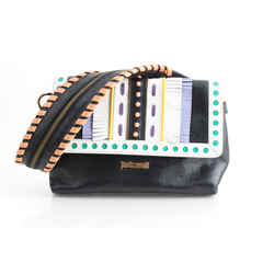 Just Cavalli Multi Leather Trimmed Embellished Clutch Shoulder Bag