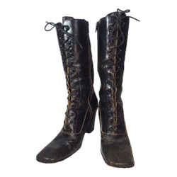 MIU MIU Black Distressed Leather Lace Up Victorian High Heel Bootie Size 38