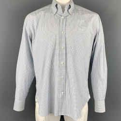 LORO PIANA Size L White & Blue Window Pane Cotton Button Down Long Sleeve Shirt