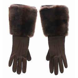 Dolce & Gabbana Brown Rabbit Fur Lambskin Leather Gloves Women's Silk