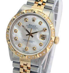 Rolex Datejust White MOP Diamond Dial 18K Yellow Gold Diamond Bezel