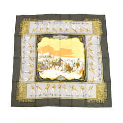 "Hermes ""Plaisirs Du Froid"" Sage Green & Gray Silk Scarf HA577"