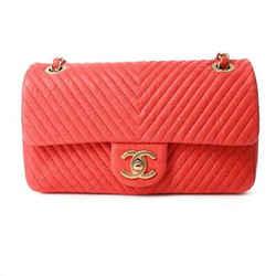 Auth Chanel Vintage Calf V Stitch Matelasse W Chain Shoulder Bag Red Leather