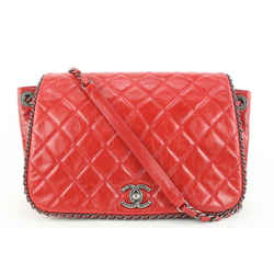 Chanel Quilted Red Leather Chain Around Flap Bag 453cas62