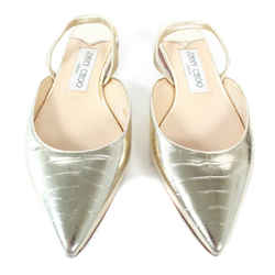 Jimmy Choo - Croc Embossed Leather Flats - Gold - Pointed Toe - It 35.5 - Us 5.5
