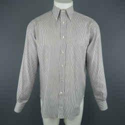 Loro Piana Size M Grey & White Striped Cotton Long Sleeve Oxford Shirt
