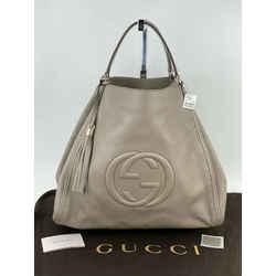 Gucci Pebbled Calfskin X Large Taupe Soho Shoulder Bag Tote Weekender B271 New