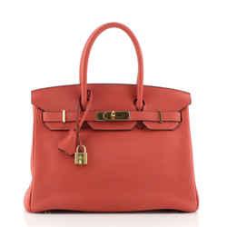 Birkin Handbag Rouge Pivoine Clemence with Gold Hardware 30