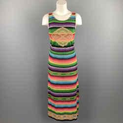 RALPH LAUREN Size M Multi-Color Knitted Silk Blend Sleeveless Dress