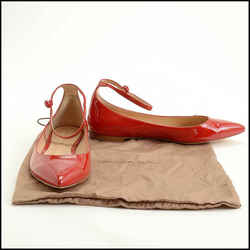 Rdc11607 Authentic Gianvito Rossi Red Patent Leather Ankle Strap Flats Size 39