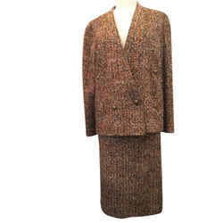 Chanel Size M Tan Tweed Boucle Skirt Suit Vintage - 1537-
