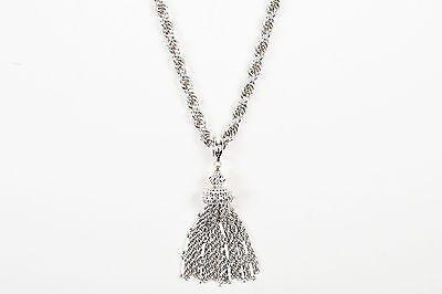 VINTAGE Monet Silver Tone Fringe Tassel Pendant Chain