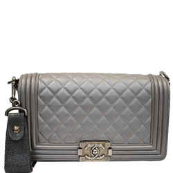 CHANEL  Boy Flap with Stingray Lambskin Leather Shoulder Bag Silver
