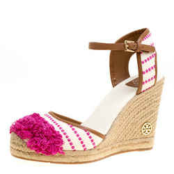 Tory Burch Beige/Pink Striped Canvas Shaw Espadrille Wedge Sandals Size 41