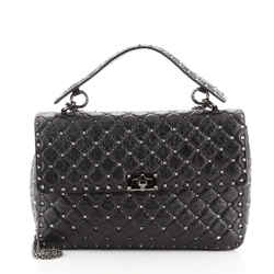 Rockstud Spike Flap Bag Quilted Leather Large