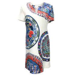 Escada Ivory Multicolor Medallion Print Short Casual Dress