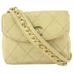 Chanel Quilted Beige Lambskin Chain Belt Bag Fanny Pack Waist Pouch 9cas624