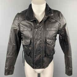 RALPH LAUREN Size XS Black Leather Zip & Snaps Jacket