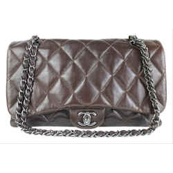 Chanel Brown Jumbo Flap Quilted Lambskin Classic Silver SHW 2CCDG8917