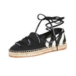 Off-white White/black Canvas Diag Ankle Wrap Espadrilles Flats Eu 38