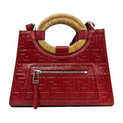 Fendi Ff Embossed Red Leather Small Runway Tote