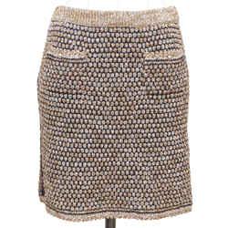 CHANEL Skirt Sweater Knit Navy Beige Gold-Tone Buttons Pockets 2011 Sz 36