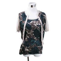 Dolce & Gabbana Green Brown Silk Cotton Sweater Set sz 0