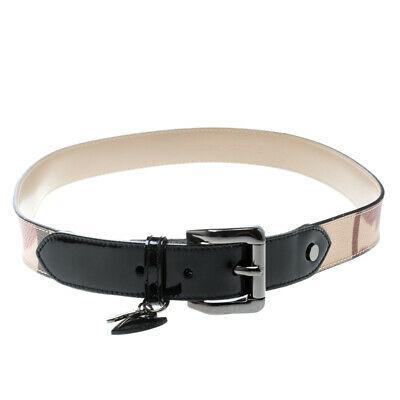 Burberry Beige/BlackHeart Check PVC and Patent Leather Belt 90cm