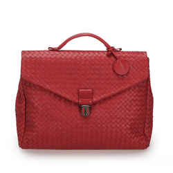 Vintage Authentic Bottega Veneta Red Calf Leather Intrecciato Business Bag Italy