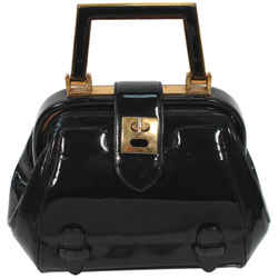 JUDITH LEIBER Rare 1960s Black and Gold Patent Leather Petite Purse