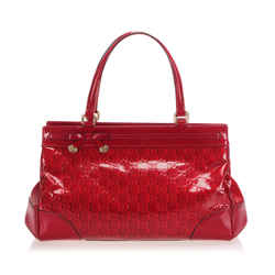 Vintage Authentic Gucci Red Guccissima Patent Leather Mayfair Handbag Italy