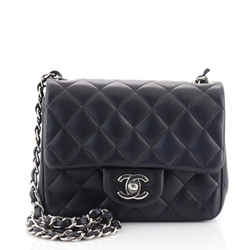 Square Classic Single Flap Bag Quilted Lambskin Mini