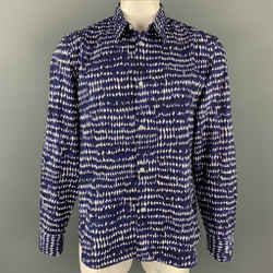 MARNI Size XL Navy & White Print Cotton Button Up Long Sleeve Shirt