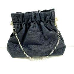 Escada Blue Stripe Texture Silver Tone Box Frame Ruffle Evening Bag Purse