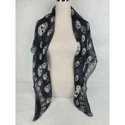 Alexander Mcqueen Women's Black Silk Scarf With Ivory Skull Print 110640 1078