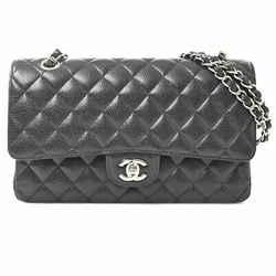 Auth Chanel Chanel Caviar Skin Matrasse Coco Mark W Flap Chain Shoulder Bag Blac