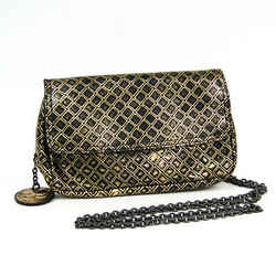 Bottega Veneta Intrecciomirage Leather Shoulder Bag Black,Gold BF503978