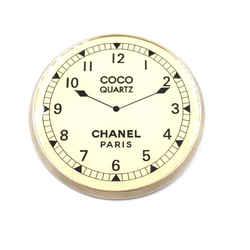 Chanel Cc Clock Quartz Brooch
