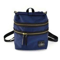 "LANVIN ""en Bleu"" Navy Blue/Black, Logo Backpack/Convertible Bag (mn)"